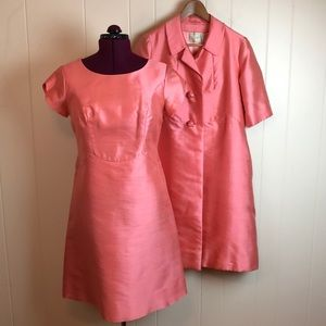 Vintage 50s/60s Peach Silk 2pc Jacket Dress Combo